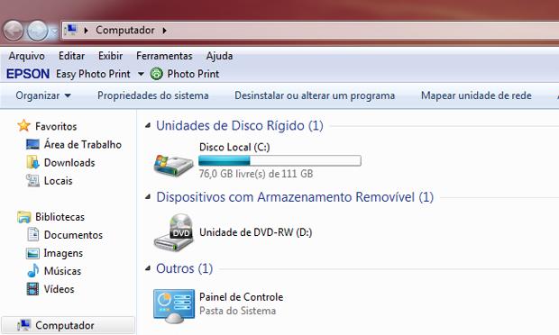 Meu Computador com atalho para o Painel de Controle (Foto: Reprodução/TechTudo)