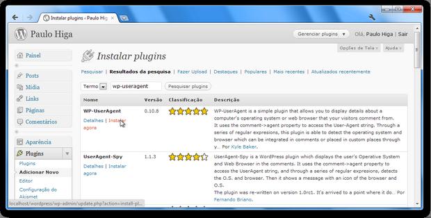 Instalação do WP-UserAgent (Foto: Reprodução/Paulo Higa)