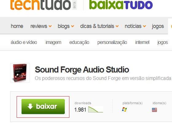 Fazendo o download do Sound Forge (Foto: Reprodução)