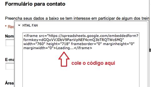 Colando o código na sua Fan Page (Foto: Reprodução)