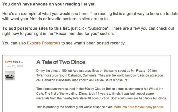 Lista de leitores do Posterous (Foto: Reprodução)