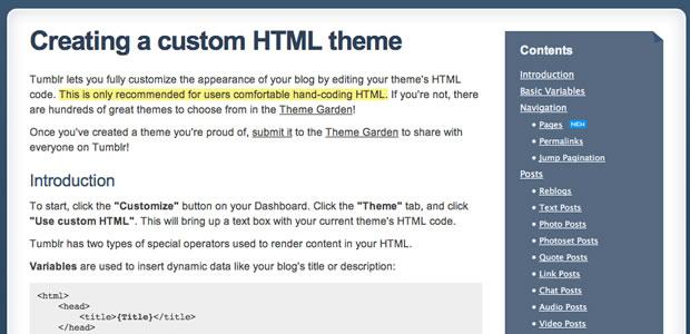 Edição de código no Tumblr (Foto: Reprodução)