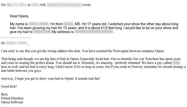 Um dos e-mails inusitados recebidos pela Opera (Foto: Reprodução)