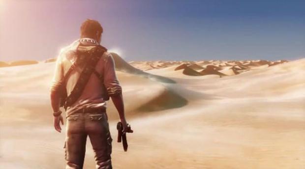 Imagem oficial de Uncharted 3 mostra Drake caminhando em um deserto (Foto: Divulgação)