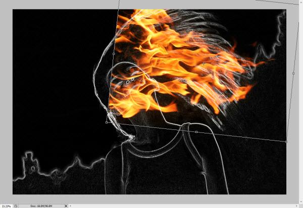 Redimensionando o fogo (Foto: Reprodução/Juliane Costa)
