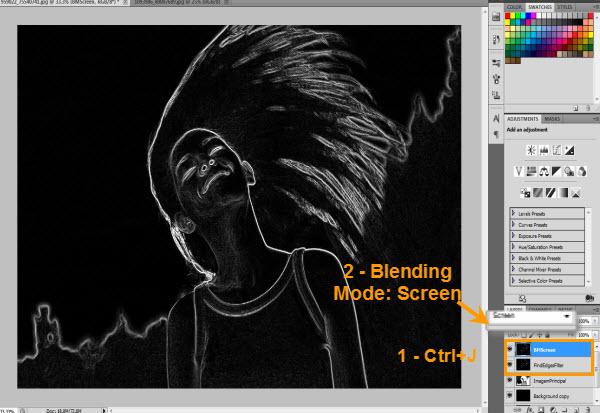Blending Mode: Screen para destacar as linhas (Foto: Reprodução/Juliane Costa)