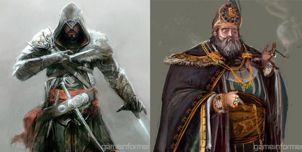 Ezio Auditore da Firenze e Manuel Paleologos no novo Assassin's Creed (Foto: Reprodução)