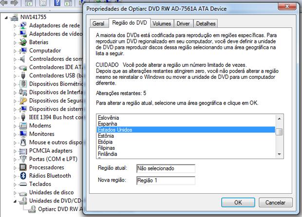 Alterando a região de reprodução do DVD (Foto: Reprodução/TechTudo)