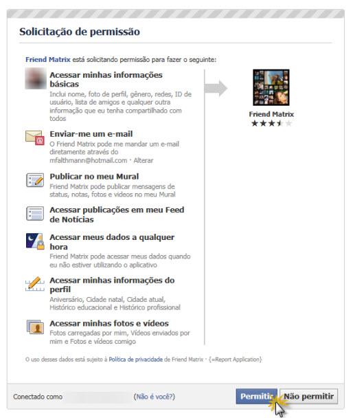 É necessário permitir que o Friendmatrix acesse sua conta (Foto: Reprodução)