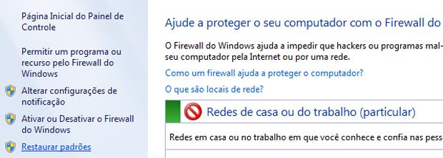 Restaurando configurações padrão do Firewall do Windows (Foto: Reprodução/TechTudo)