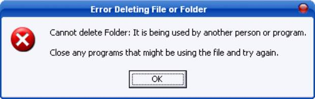 Erro ao excluir pasta ou arquivo (Foto: Reprodução)