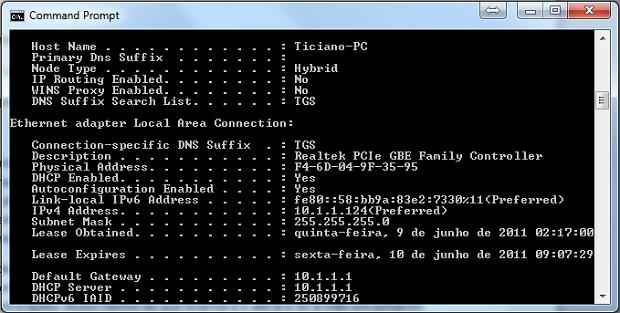 """O """"Mac Adress"""" do seu computador pode ser visualizado em """"Physical Address"""" (Foto: Reprodução)"""