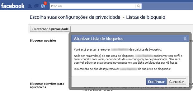 Removendo uma pessoa da lista de bloqueios do Facebook (Foto: Reprodução/TechTudo)