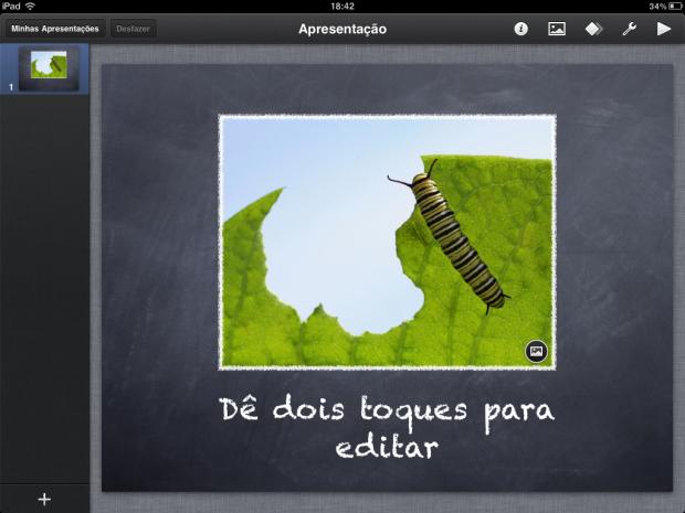 Começando a editar os slides (Foto: Reprodução/Camila Porto)
