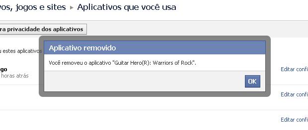 Removendo um aplicativo da conta do Facebook (Foto: Reprodução/TechTudo)