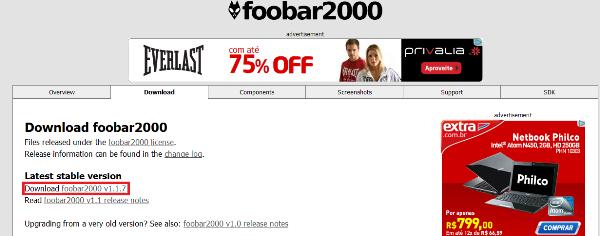 Tela de download - Foobar2000 (Foto: Divulgação)