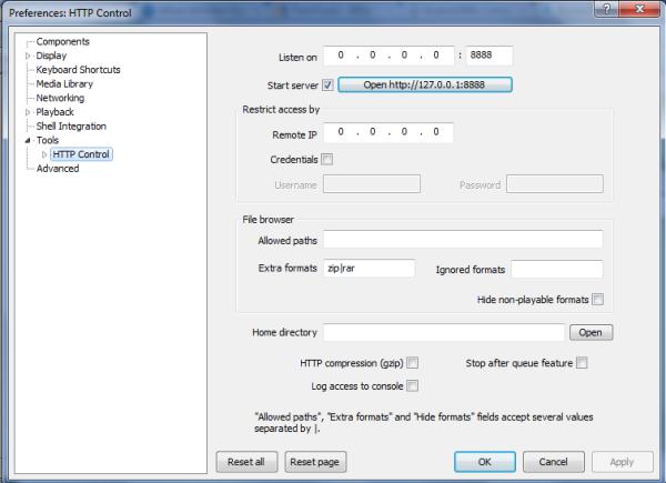Tela de configuração HTTP Controll - Foobar2000 (Foto:  Divulgação)