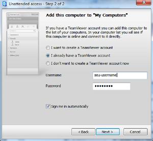 Configure a sua conta no Team Viewer (Foto: Reprodução)