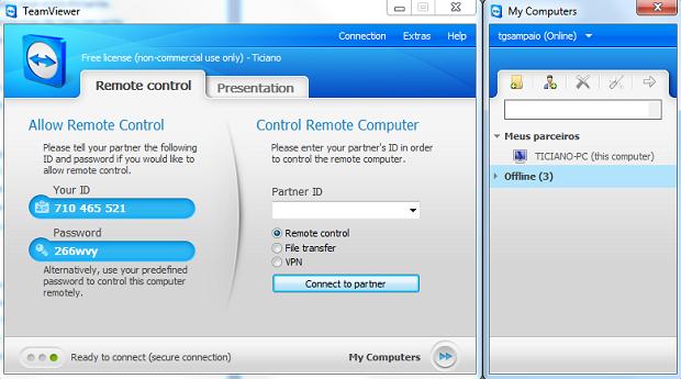 Interface do Team Viewer no Windows 7 mostrando a lista de parceiros (Foto: Reprodução)
