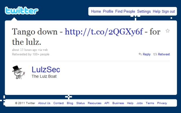LulzSec reivindica autoria do ataque.  (Foto: Divulgação)