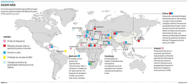Governos que tiveram a política de acesso à Internet questionada pela ONU (Foto: Estadão)