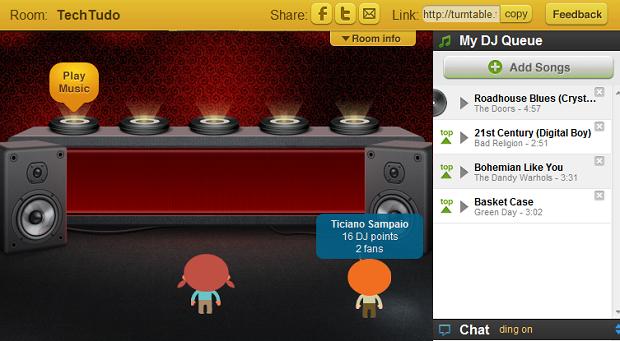 """Sala do Turntable. Aperte """"Play Music"""" para começar a discotecar (Foto: Reprodução)"""