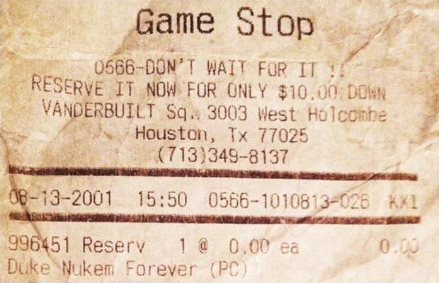 Recibo da pré-venda de Duke Nukem Forever data de 13 de Agosto de 2001 (Foto: Divulgação)
