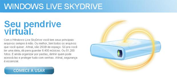 Windows Live SkyDrive: Armazenamento online e gratuito de até 25GB,windons skydrive,skydrive,pendrive virtual,armazenamento online,armazenamento online,armazenamento grátis,mega interessante