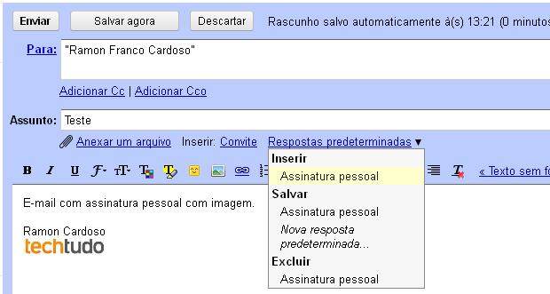 Exemplo de e-mail com assinatura pessoal com imagem (Foto: Reprodução/TechTudo)