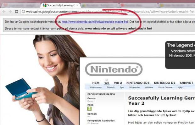 """A expressão """"Arbeit Macht Frei"""" aparecia no site da distribuidora da Nintendo na Suécia (Foto: Divulgação)"""