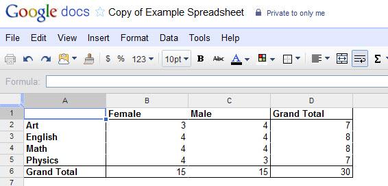 PivotTable com os resultados de alunos por sexo e especialidade (Foto: Reprodução)