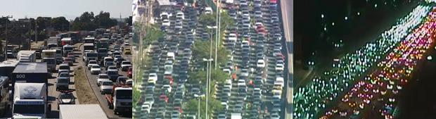Seja a caminho do trabalho, da praia, ou de casa: é inevitável pegar trânsito (Foto: Globo)
