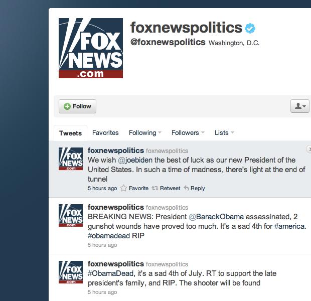 Twitter de notícias políticas da Foxnews (Foto: Reprodução)