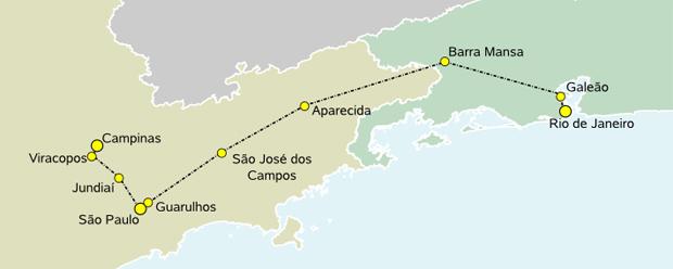 Trecho que o trem bala vai percorrer (Foto: Wikipedia)