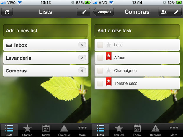 Telas do Wunderlist  no iPhone (Foto: Reprodução)