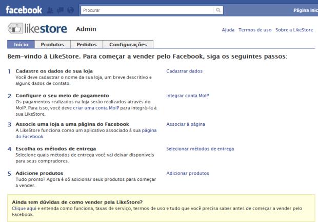 Painel de Controle LikeStore (Foto: Reprodução/Camila Porto)