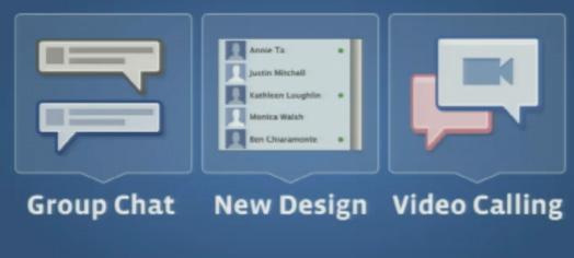 Além da videochamada, foram anunciadas também novidades no design de comunicação instantânea do Facebook e no serviço de chat em grupos. (Foto: Reprodução)
