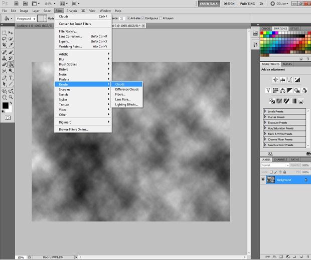 Adicionando o efeito Clouds (Foto: Reprodução)