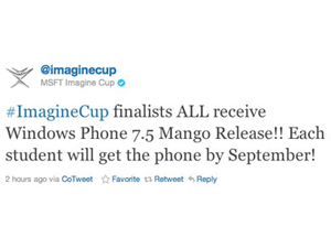 Tweet do Imagine Cup (Foto: Reprodução)