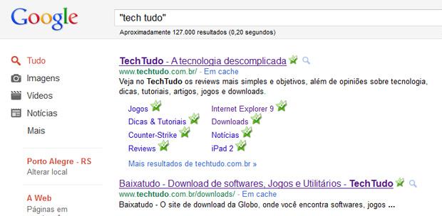 Buscando termos específicos no Google (Foto: Reprodução/Teresa Furtado)