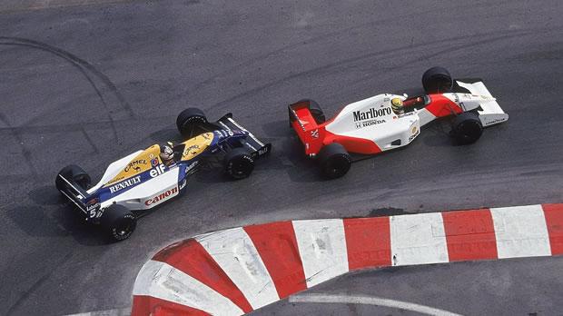 Para tristeza dos fãs, duelos entre Senna e Mansell somente em 2013 (Foto: Reprodução)