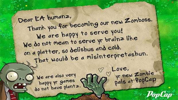 Carta da PopCap Games para Electronic Arts (Foto: Divulgação)