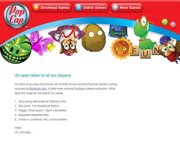 Carta da PopCap Games para fãs (Foto: Divulgação)