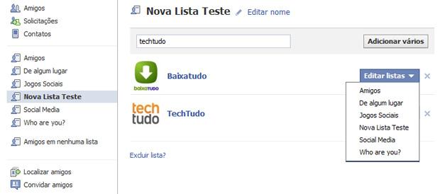 Editando listas no Facebook (Foto: Reprodução/Teresa Furtado)