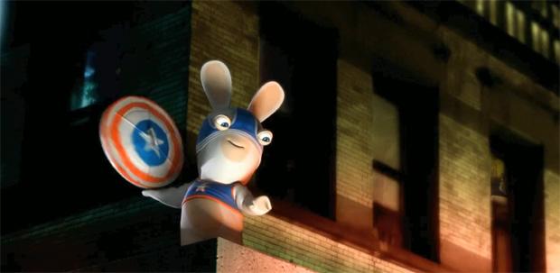 Coelhos de Rayman atacam de Capitão América (Foto: Divulgação)