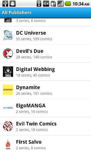 Listagem de todas as publicações de HQ (Foto: Divulgação)