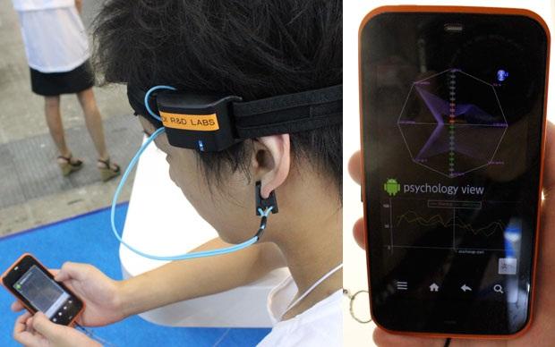 O aplicativo da KDDI exibe gráficos com ondas cerebrais. (Foto: Divulgação)