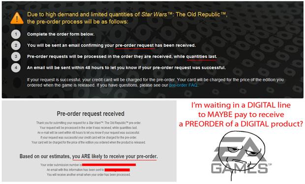 Electronic Arts fazendo pré-venda da pré-venda de Star Wars: The Old Republic  (Foto: Destructoid)