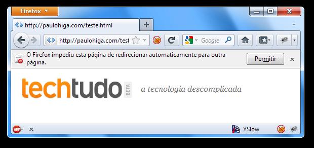 Redirecionamento automático bloqueado pelo Firefox (Foto: Reprodução/Paulo Higa)