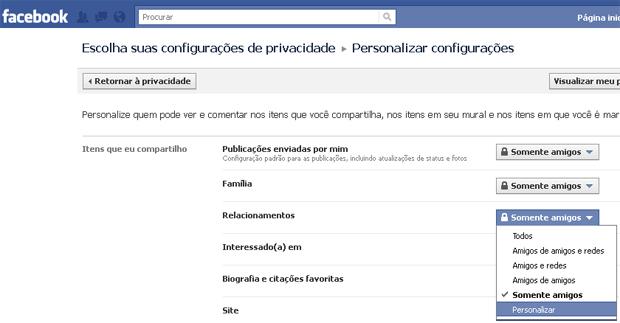 Alterando as configurações de privacidade do Facebook (Foto: Reprodução/TechTudo)